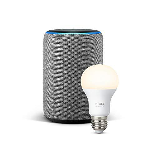 das neue echo plus 2 gen hellgrau stoff philips hue white lampe. Black Bedroom Furniture Sets. Home Design Ideas