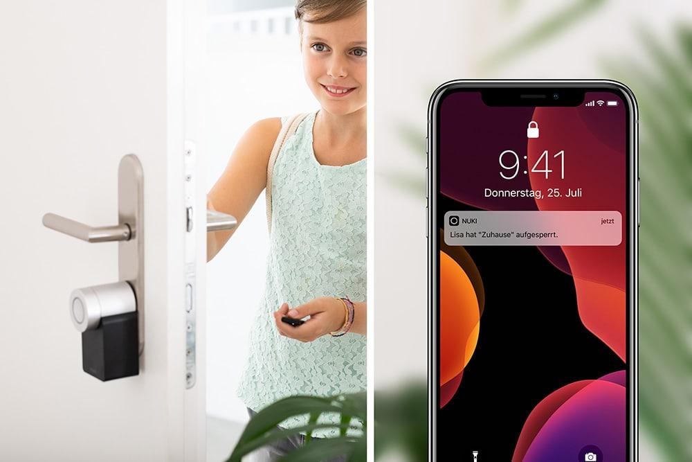 Smart Lock und Bridge f/ür iPhone und Android Smart Home IFTTT - Elektronisches Bluetooth T/ürschloss NUKI Combo Automatischer T/ür/öffner mit WLAN