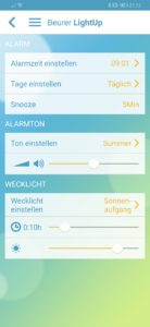 Wecker einstellen via App